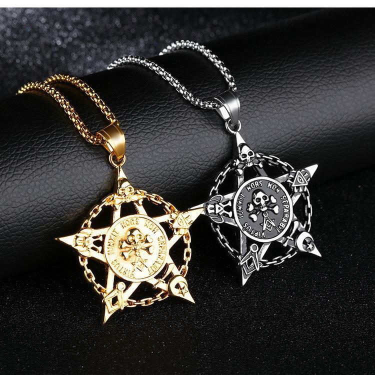 Двухсторонний Пиратский Череп Глава Титана Подвеска Пентастар Личность Доминеринг Ожерелье из нержавеющей стали
