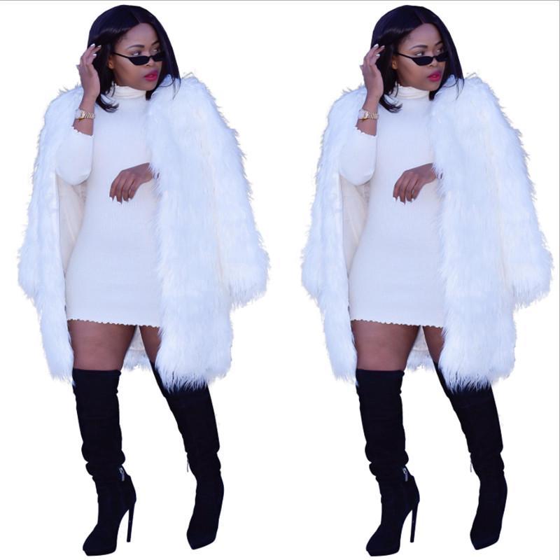 2020 Inverno Ultime donne Eleganti Donne Bianco Cappotti lunghi Long Cappotti Lunghi di Pelliccia di Pelliccia Maniche lunghe Streetwear Cardigan Cappotti Immagini reali di alta qualità