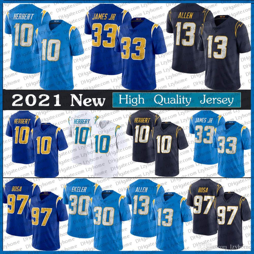 10 Justin Herbert Jersey Men's 13 Keenan Allen 97 Joey Bosa Blue Navy 33 Derwin James 30 Austin Ekeler 2020 New Lac Football Jerseys