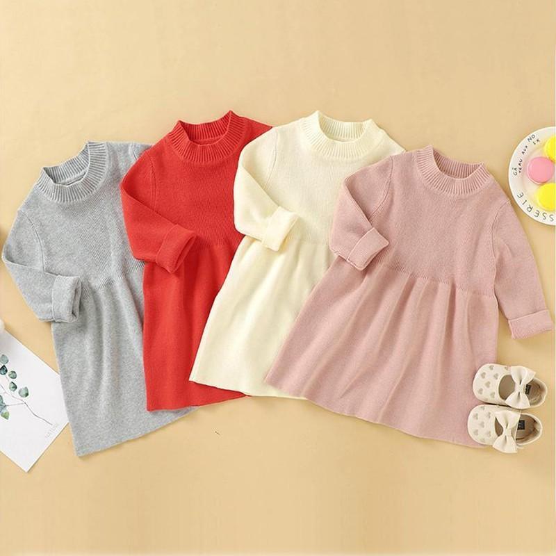 Herbst 100% Baumwolle Baby Mädchen Strickjacke Pullover Kleid Langarm Strick Säuglingskleid Neugeborenen Mädchen Gestrickte Kleidung Kleidung Z1214