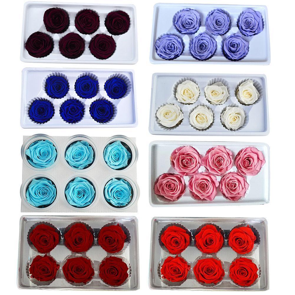 6 adet / kutu Korunmuş Taze Gül Çiçek Kafaları Sınıf B 5-6 cm Güller Kurutulmuş Çiçek El Yapımı DIY Ebedi Çiçek Düzenleme Y0104