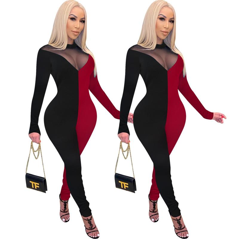 Perspectiva atractiva para mujer Diseñador de mujer Moda de moda Dos colores paneles de manga larga largos pantalones para mujer emisiones de mujeres Hembras casuales Ropa