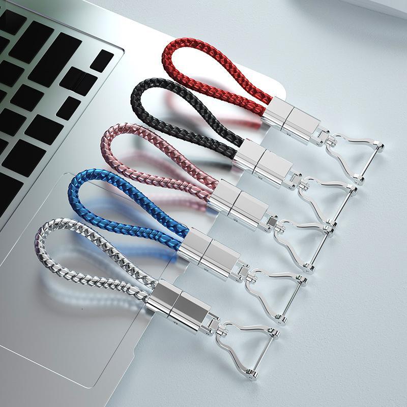 Neues handgemachtes Seil gewebtes Auto feiner PU-Leder-Faltschlüsselkette Kleingeschenk-Hufeisenknopf