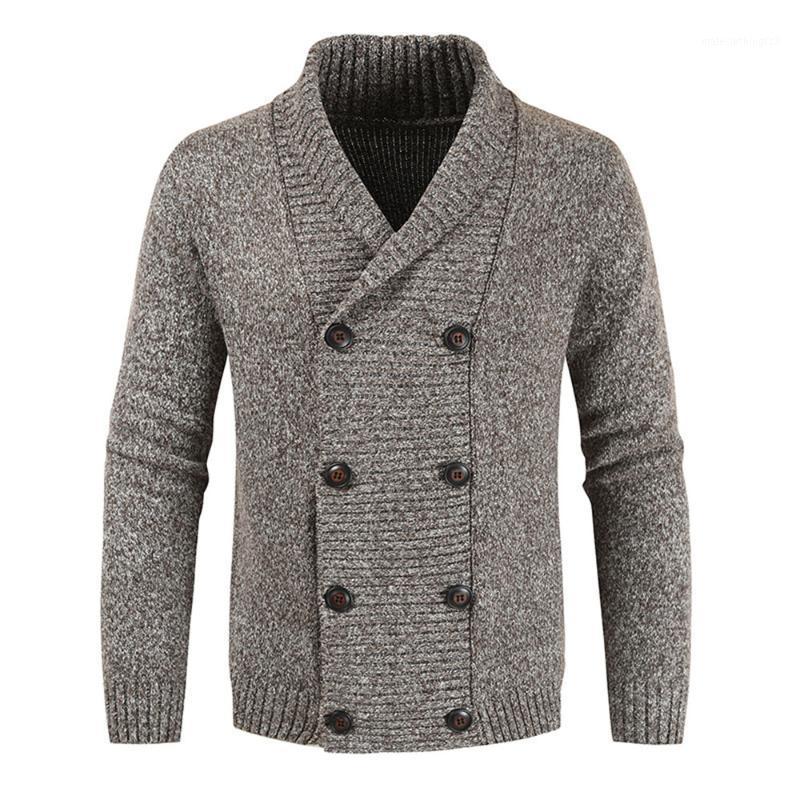 Pull de style décontracté automne hiver mode lâche designer simple de vente chaude vapeur à double boutonnage à manches longues cardigan1