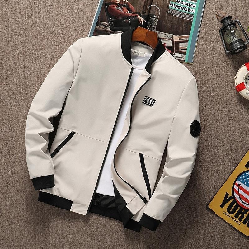 Summer Hommes Veste Stand Collier à manches longues Mâle Bombardier Zipper Jacket Slim Fit Fit Solid Haute Qualité Taille M-6XL Dropshipping 201130