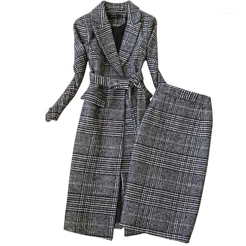 Robe de deux pièces Haute Qualité Hiver Femmes Cuissards Jupe Ensemble 2021 Tempérament Longue en laine mince Manteau Dames Deux-Piece1
