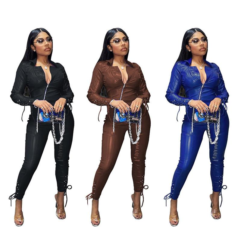 Two Piece Set Outfits for Women Winter Clothes PU Leather Bandage Zip Top Leggings Pants Matching Sets Wholesale Dropshipping F1216