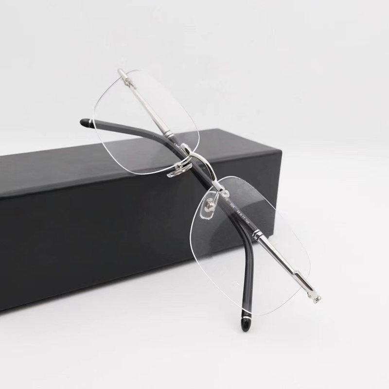 الفاخرة الرجال المتضخم النظارات الأعمال مربع نظارات بدون شفة إطار 54-17-150 لوصفة الطبية + التيتانيوم حالة مجموعة كاملة