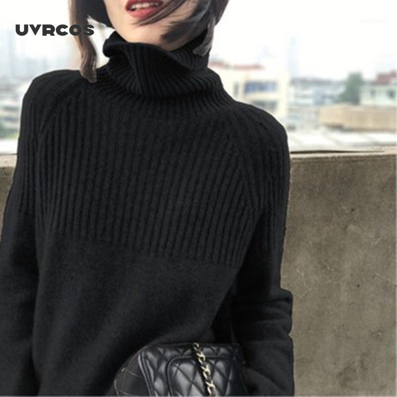 Suéter das Mulheres Uvrcos Turtleneck Womens Casual Pullovers Sólido Manga Longa Korean Top Knit Camisola Mulheres Inverno Plus Size Harajuku1