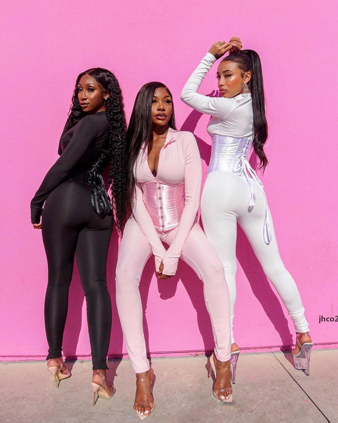 JH Women Solid Jumpsuit Corset 2 Pieces Set Long Sleeve Zipper Bodycon Sexy Streetwear Matching Outfit Clothing Tracksuits