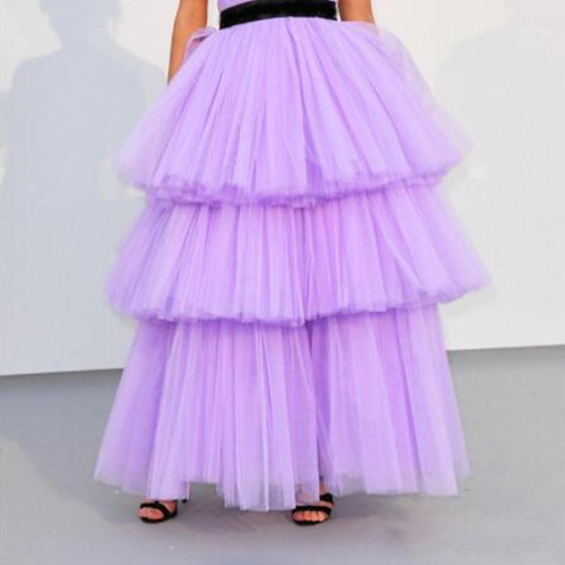 Mulheres personalizadas em camadas saia lilás saias lavanda longa saias Jupe femme maxi saia chão comprimento1
