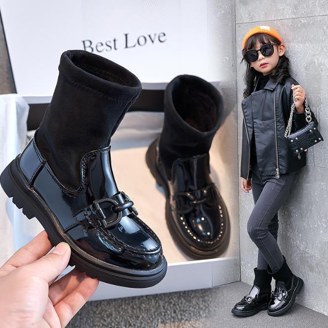 Девушки мода обувь 2021 Весна осень Новый британский стиль Мартин сапоги для девочек сплошной цвет мода высокие сапоги
