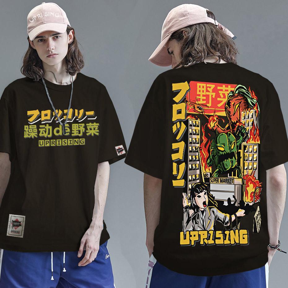 2020 Мужчины хип-хоп футболка японский хараджуку мультфильм монстр футболка уличная одежда летние топы тройки хлопковая футболка негабаритная Hiphop C0119