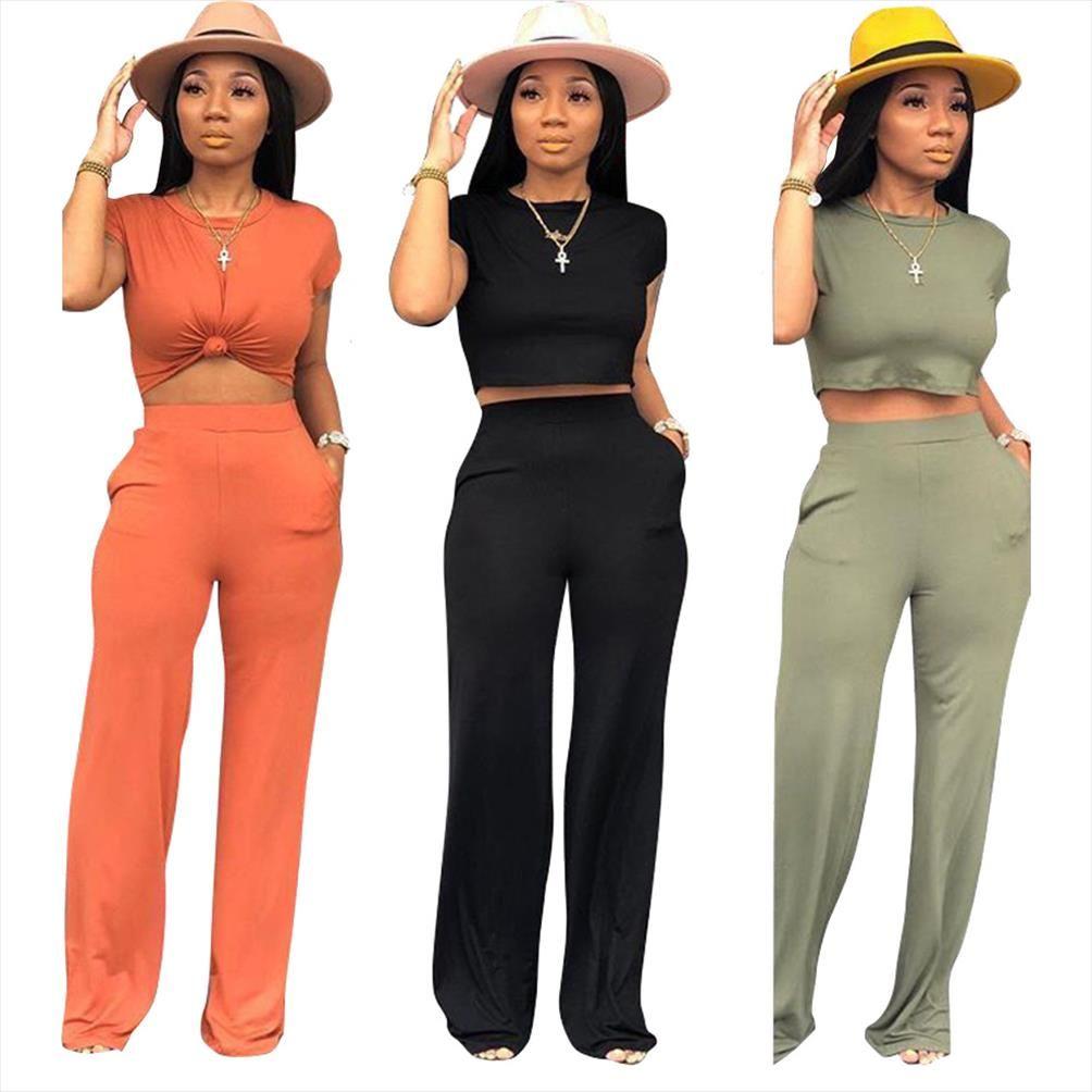 2019 Mujeres Verano Casual Sportwear Sleeve Tee Top Pantalones Pantalones Pantalones Pantalones Trajes Dos piezas Set Sporty Traje 3 Color TS933