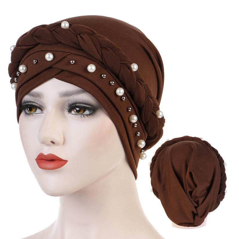Müslüman Kadınlar için Kafa Eşarp Katı Pamuk Türban Bonnet Başörtüsü Caps Beyaz Inci İç Hicaps Femme Musulman Arap Wrap Türbanlar 10 adet