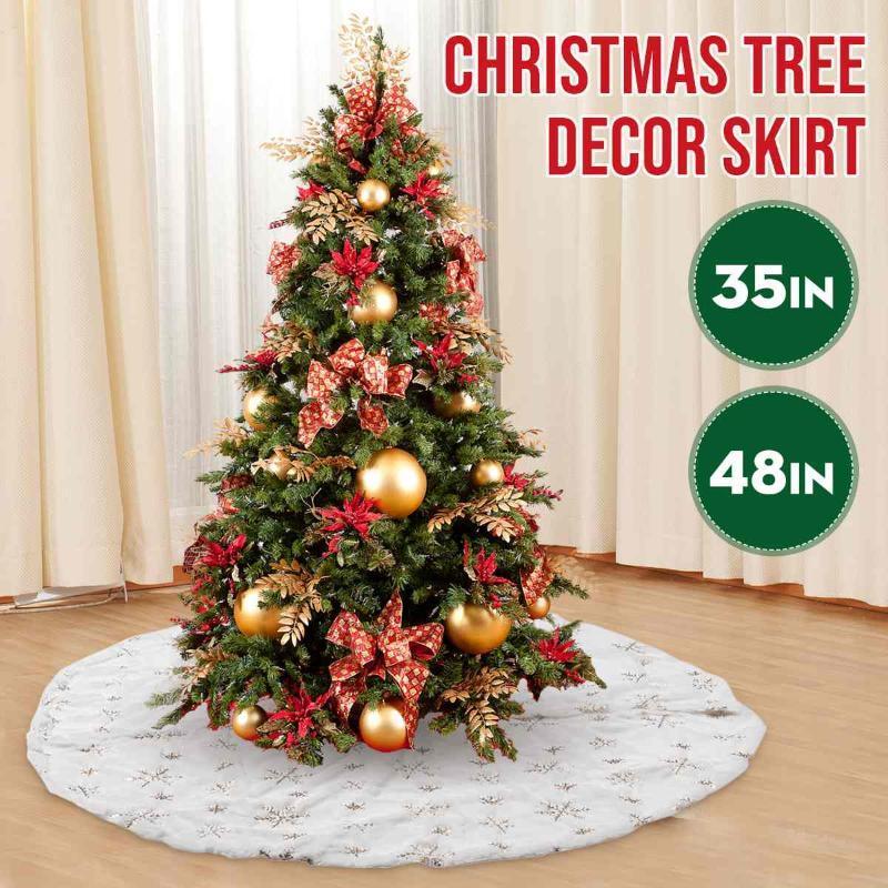 Noel Ağacı Dekor Kar Tanesi Beyaz Noel Ağacı Etek Kürk Etek Xmas Süslemeleri Hediye Parti Ev Dekorasyon Için