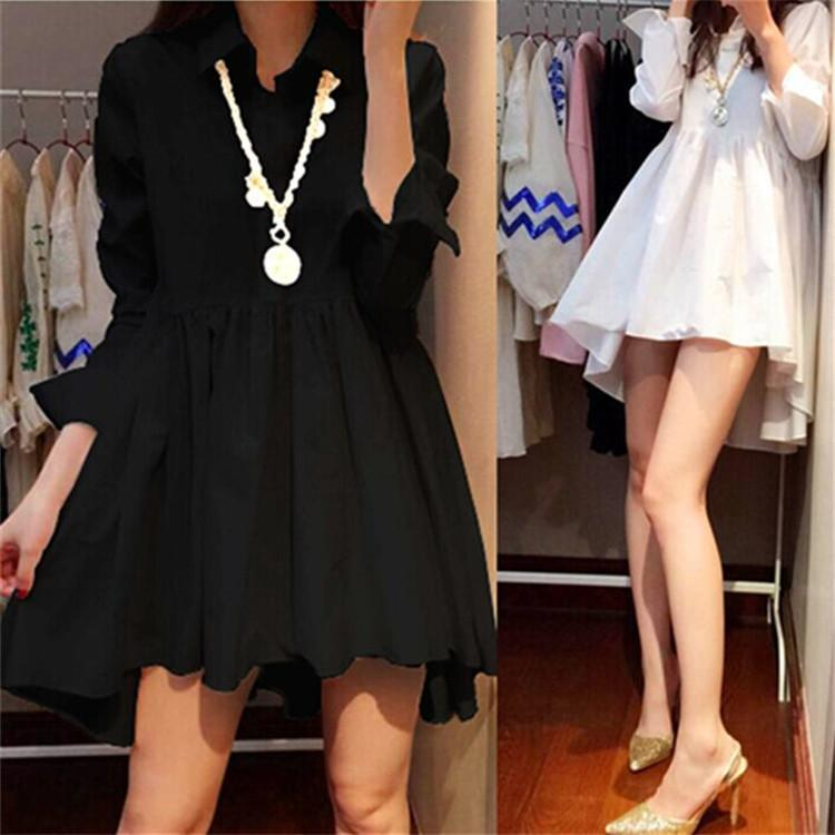 Добавить толстый плюс весна новое платье корейская женская мода свободная средняя длина с длинным рукавом юбка рубашки