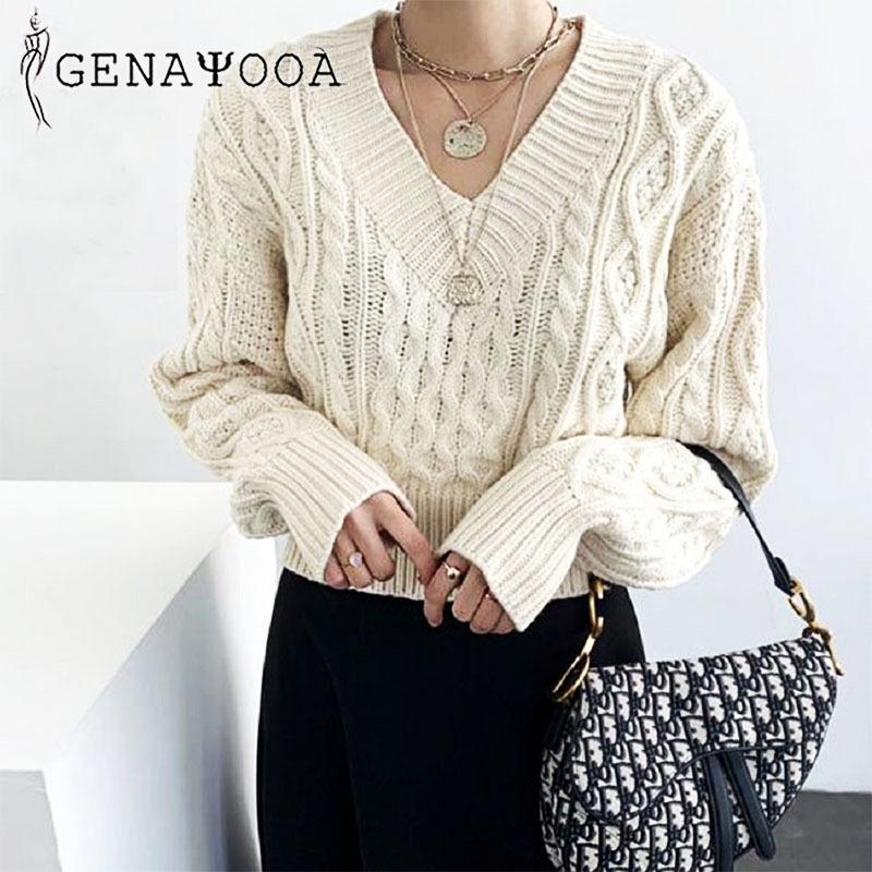 Genayooa вязаная осень зима свитер женщины свитера и пуловеры тянуть Femme с длинным рукавом на шнурке черный джемпер женские топы Y200910