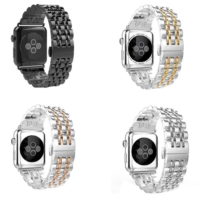 Alta classe de aço inoxidável Sete pontos de substituição Band para Apple Watch Toda a série 40mm 44mm 42mm 38mm pulseira pulseira pulseira