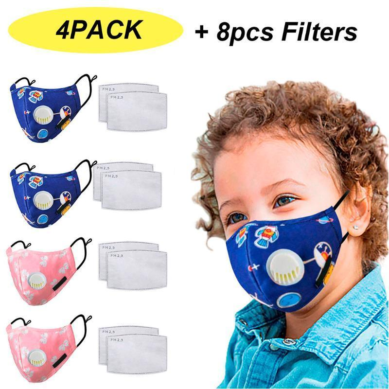 Venda quente Kids Reusável bonito dos desenhos animados poeira PM2.5 Poluição Respirador Earloop Face Respirável Esportes Lavável Lençóis Lenços Em Estoque