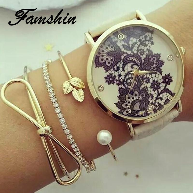 FAMSHIN 3 pc / insieme classico del foglio di Bowknot cristallo della perla di apertura del braccialetto di Party Set donne di fascino dell'oro di modo dei monili del braccialetto regalo