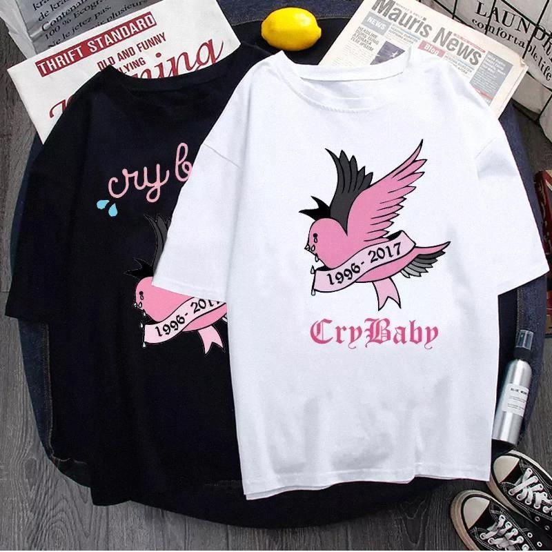 Летняя футболка Lil Peep Хип-хоп Певица Свободная забавная Письма Печать Harajuku Свободные Повседневные Шикарные Короткие Короткими Верхние Топы Женская Одежда # NQ2S
