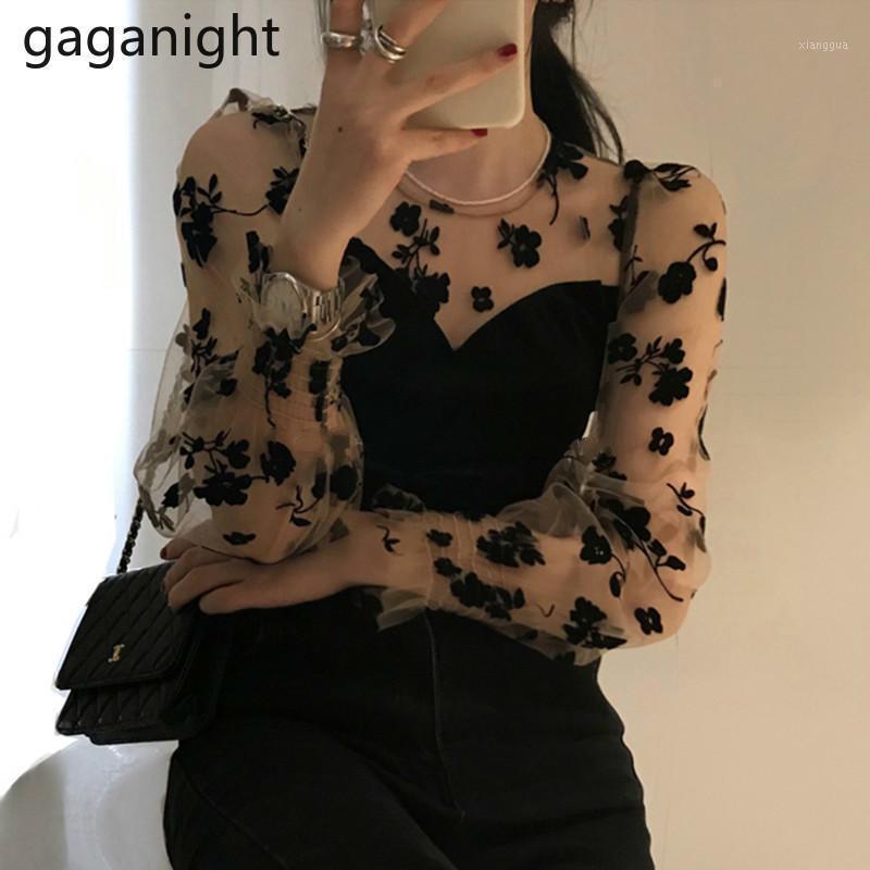 Gaganight Sexy женщин сетка цветочная блузка с длинным рукавом o шеи старинные леди шикарные корейские рубашки лоскутное блузки мода blusas new1