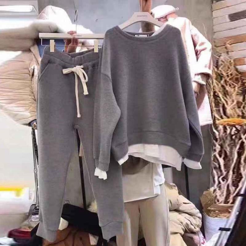 Femminile Sporting Suit Streetwear Autunno Inverno Basic Donna Pullover Felpe Felpe e Pantaloni Harem Pantaloni Donne Set da donna 2 pezzi Tracksuits
