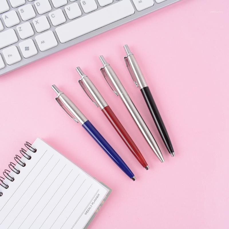 1 UNID METAL BALLOINT PENS PRENSE ESTILO PARA LA OFICINA DE LA ESCUELA Papelería de escritura Punto de escritura 0.7mm Color de tinta Black Blue Business Pen1
