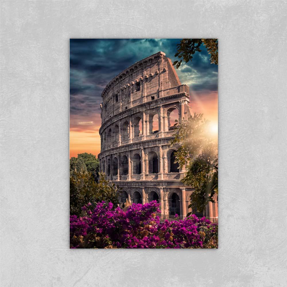 Decorated Abstract Picture Art Paints on Canvas City of Rome in sera Diagi di tela di tela pittura a olio su tela decorazioni da parete 24x36 pollici
