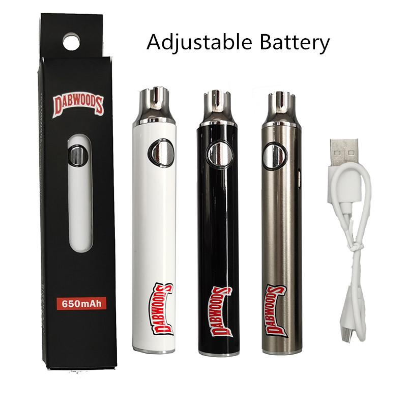 Dabwoods Batterie 650mAh Vape Vape Réglable Tension Variable 510 Batteries de filetage Cartouches de Vape emballage avec chargeur USB