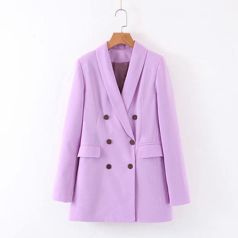 [EWQ] Tatlı Ceket Moda Takım Elbise Kadın Mor Uzun Kollu Blazer Ofis Bayanlar Yeni Varış Sonbahar Dış Giyim