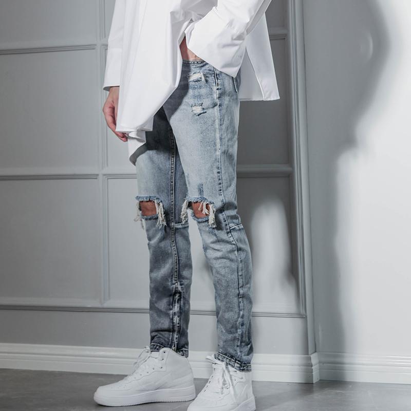 Jeans Menores Americanos High Street Hip Hop Hole Big Hole Beggar Pantalones Hombres Slim-Fit Plancha Pierna Cremallera Gran Tamaño Británico Nightclub