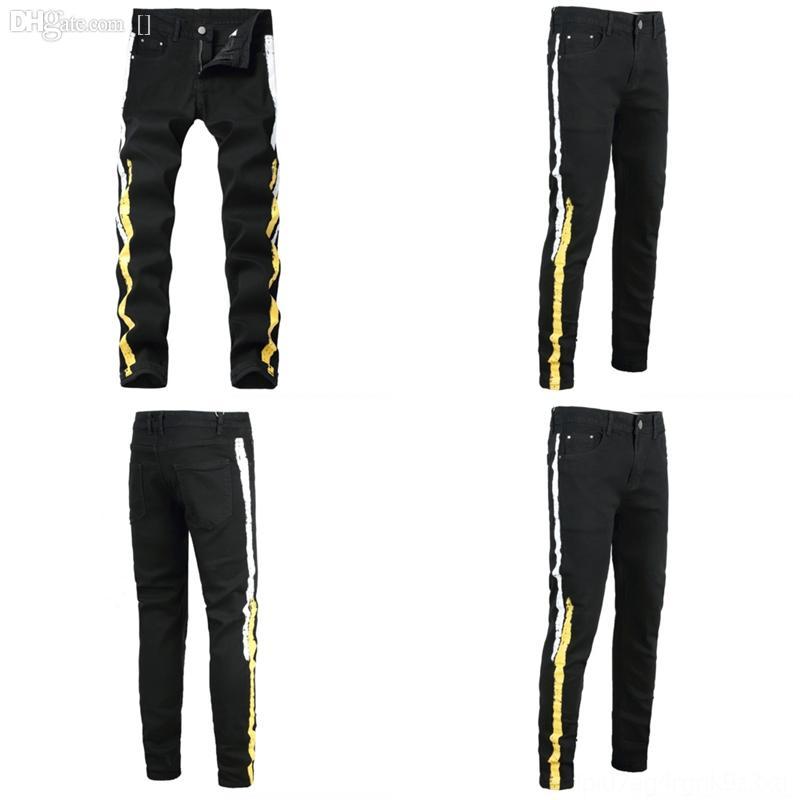 qld растягивающие джинсовые джинсы для мужчин джинсы винтажные тощие джинсы осень тонкие повседневные джинсовые мужские качества брюки брюки черная улица
