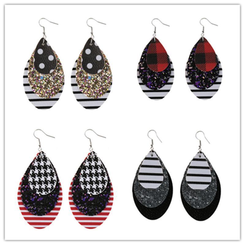 PU-Leder Glitter Multilayer Oval Ohrringe Pailletten Teardrop Ohrringe Leopard Wasser Drop Baumeln Ohrringe Für Frauen Earbob Schmuck DHL frei
