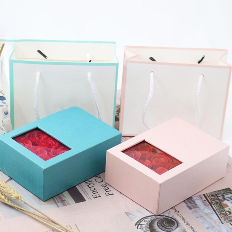 Casamento jóias anel colar caixa de presente festival caixa de presente com 6 rosas festa de Natal Valentines menina presentes