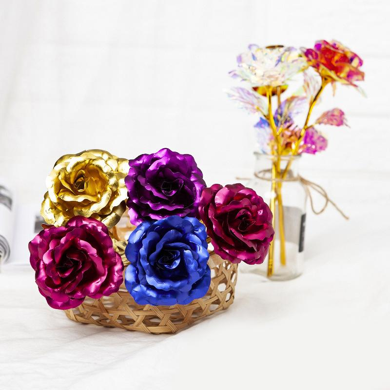 Christmas Day Gift 24k Gold Foil Plated Rose Creative Gifts Lasts Forever Rose For Valentine's Day Girl Gift w-00481