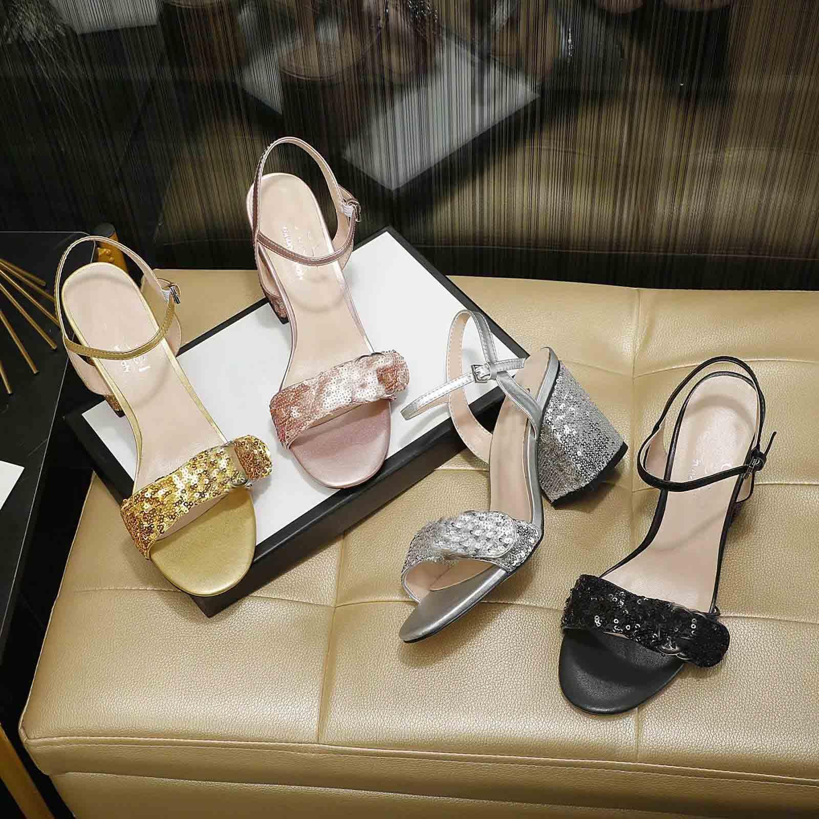 2021 Nouvelle Arrivée Girls Fashion Sandals à talon paillettes Sandals Femme Casual Casual Heel Chaussures Chaussures Lady Noir Grande taille 42 40 39 10US # P51