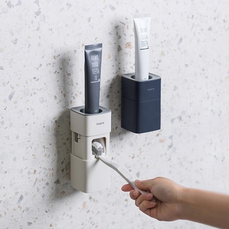 Banyo Otomatik Diş Macunu Sıkacağı El Ücretsiz Diş Macunu Sıkma Dağıtıcı Kolay Basın Diş Macunu Tutucu Banyo Araçları Kullanımı1