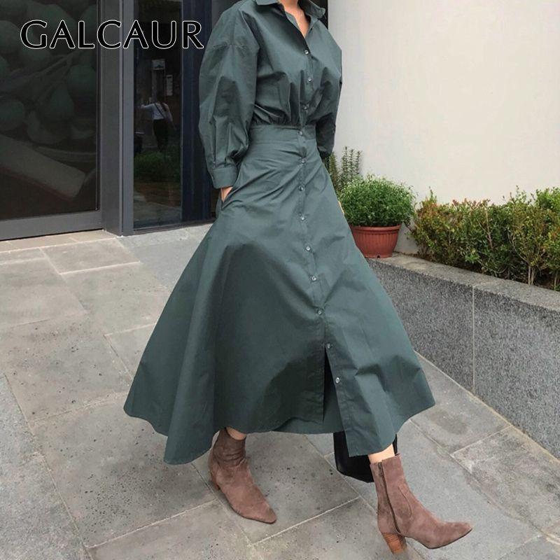 Vestido minimalista de Galcaur Coreano para mujer Cuello de solapa de manga larga de manga larga Vestidos puros Femenino de otoño femenino nuevo 2020 LJ201202