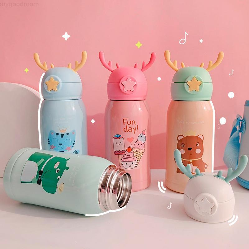 Творческий детский термос с соломой двойной целей воды для мальчиков для мальчиков для девочек детский сад младенца начальная школа студентов чайник
