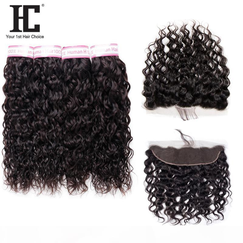 HC Cheveux Produit 100% Brésilien Human Cheveux Humains avec pré-cueillis 13 * 4 Dentelle Frontal Sansalless Hai Extensions 4 Bundles 8-28 pouces 5 pcs Lot