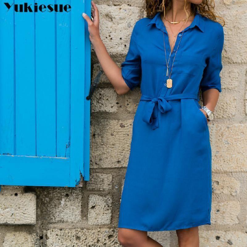 Yukiese 2020 Neue Herbst Winter Frauen Drei Viertel Hemd Kleid Mode Damen Abzugskragen Beiläufige Lose Kleider Vestidos1