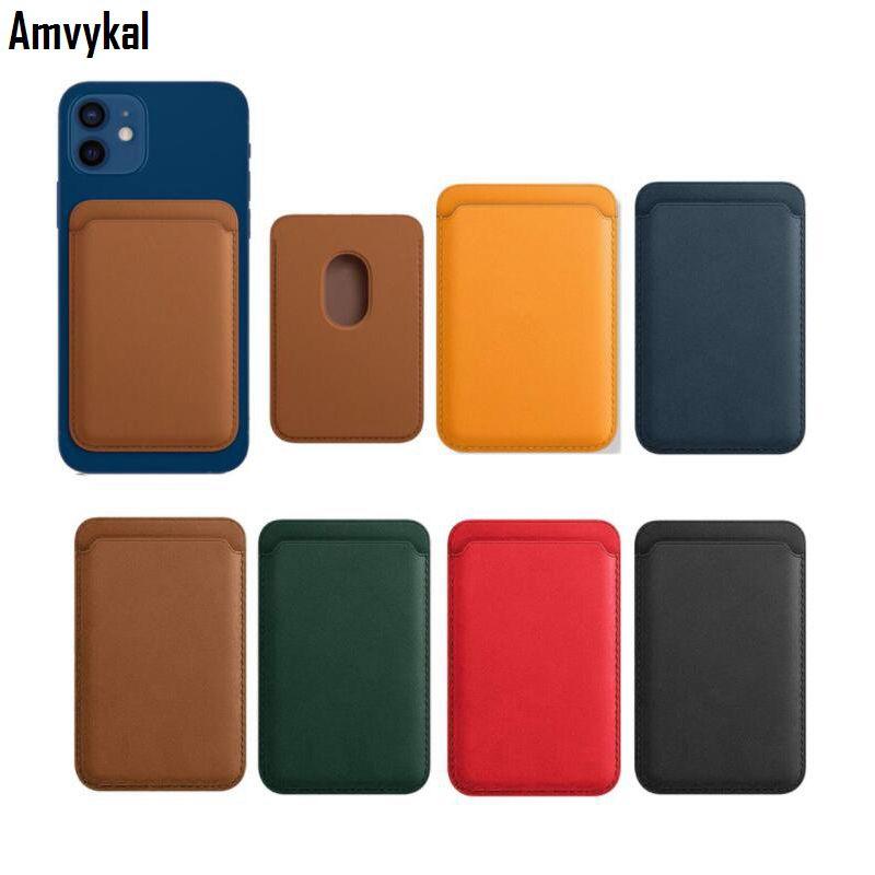 Deri Cüzdan Kapak iphone 12 Pro Max Mini Magsafe Adsorpsiyon Kablosuz Şarj Manyetik Kart Sahibinin Telefon Kılıfları