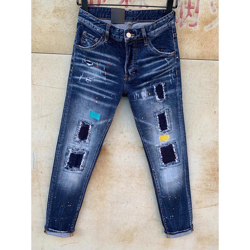 Mens dsquared2 Jeans déchire Stretch Black Jeans Mode Slim Fit Motocycle Motocycle Denim Pantalon lambrissé Pantalon de style Italie GZBJ