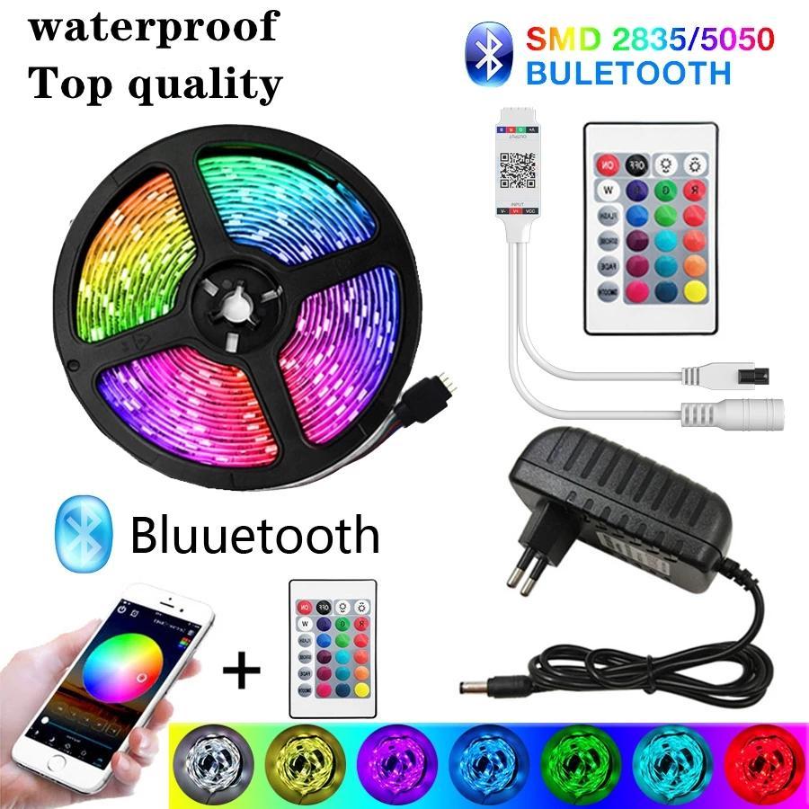 LED tira luz Bluetooth 20m RGB 5050 fita flexível à prova d 'água RGB LED luz SMD 5m 10m fita diodo 12v 30light / m controle wifi