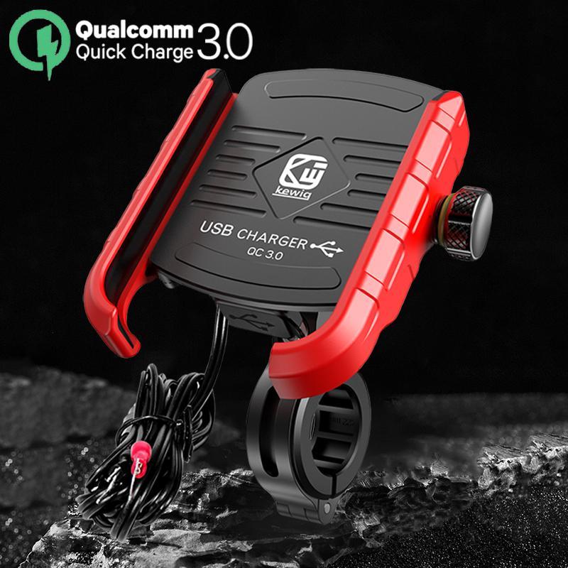 Kewiq M8 Alliage d'alliage d'aluminium Titulaire de la moto avec QC3.0 USB Chargements rapides à 360 ° Tourner le support de téléphone mobile motorbike