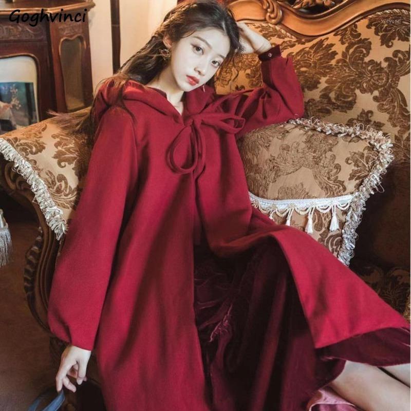 Женщины смешиваются плюс размер 3xL ремень с капюшоном с капюшоном с длинным рукавом лук сладкие девушки пальто негабаритные повседневные осенние моды шикарный корейский стиль wool1