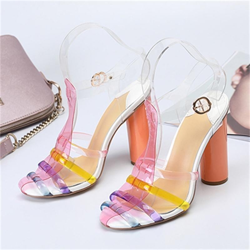 Voir les femmes Voulez-vous Jelly Bloquer dix pouces High High High Hears Shredded Mesdames Chaussures Pompes en cuir véritable PVC 43 KB45