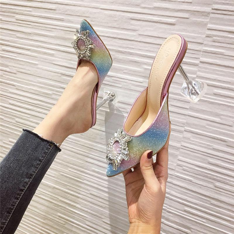 Nouveau 2020 Summer Woman Crystal Crystal Clear Chaussures Mme Bing Rainbows 7B8V